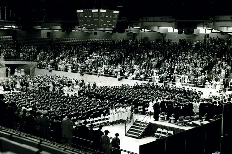1960 photo of May commencement ceremony in the Greensboro Coliseum