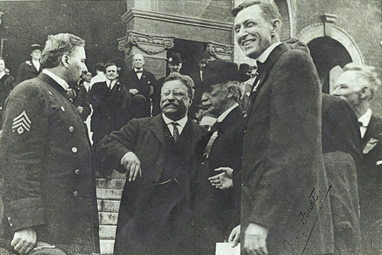 1912 photo of Candidate Theodore Roosevelt when visiting campus