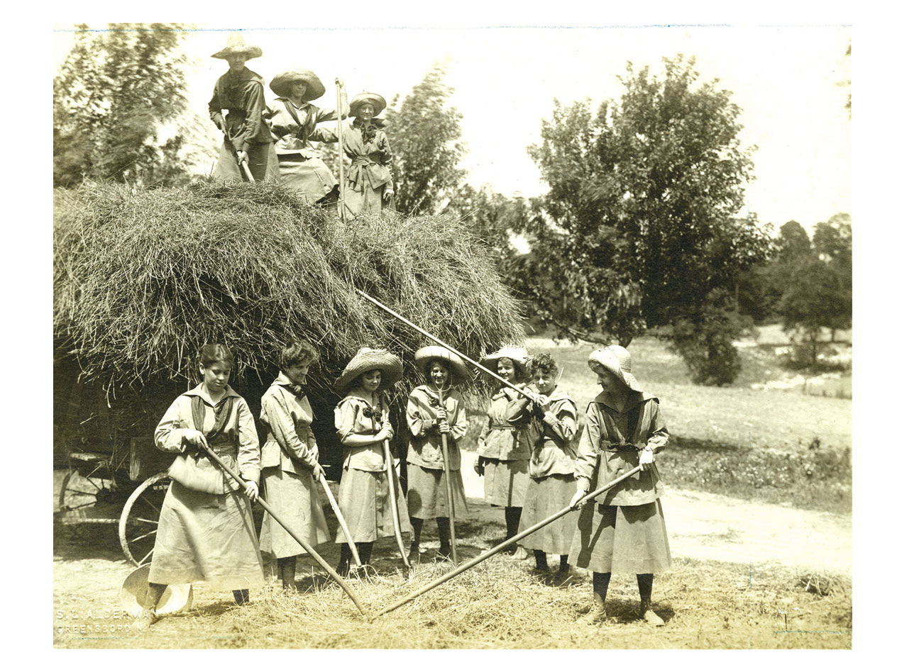 1918 photo of Student Farmerettes, growing food during WWI