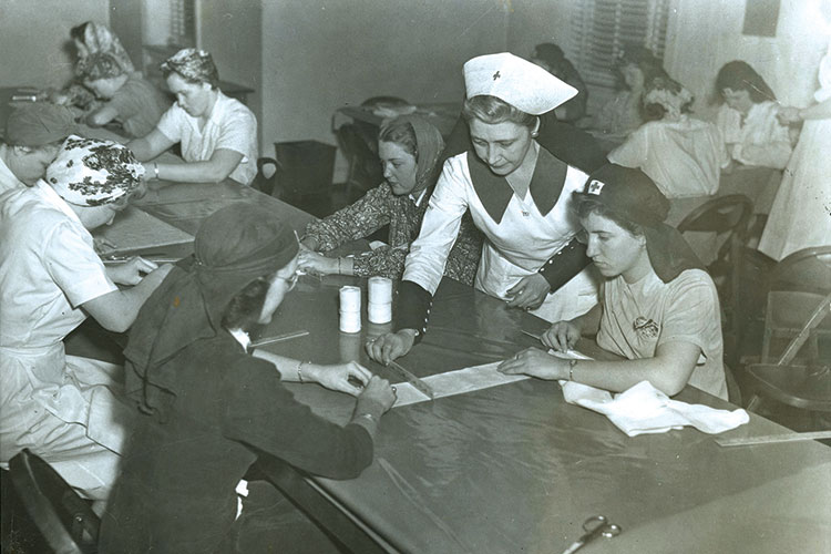 1944 photo of War Service League, a student group during WWII