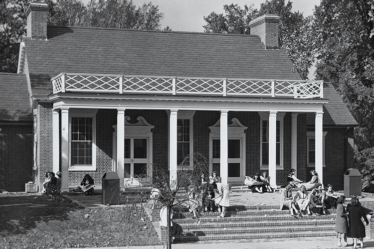 a photo of the Soda Shop circa 1949, which is now the Faculty Center