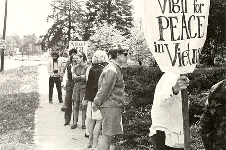 1970 photo of on-campus vigil to protest the Vietnam War