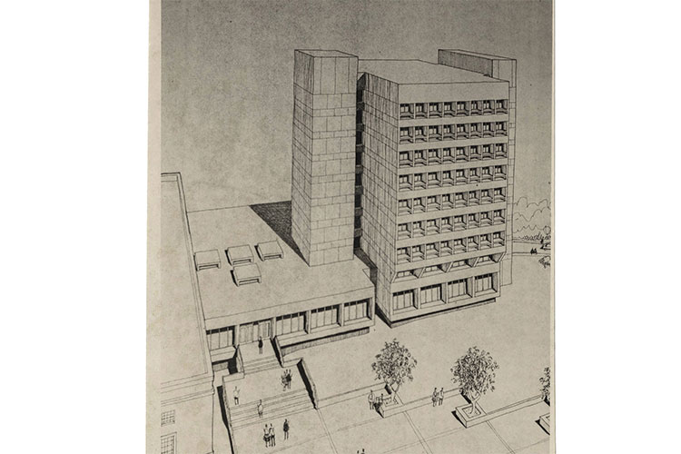 1973 Jackson Library tower addition, designed by noted firm Odell Associates of Charlotte.