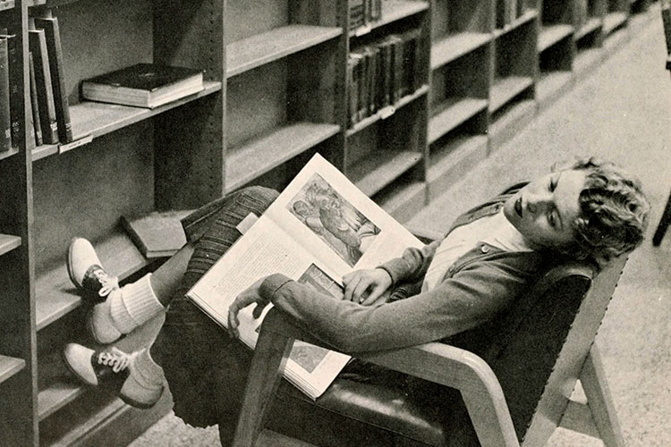 photo of girl asleep in library circa 1956
