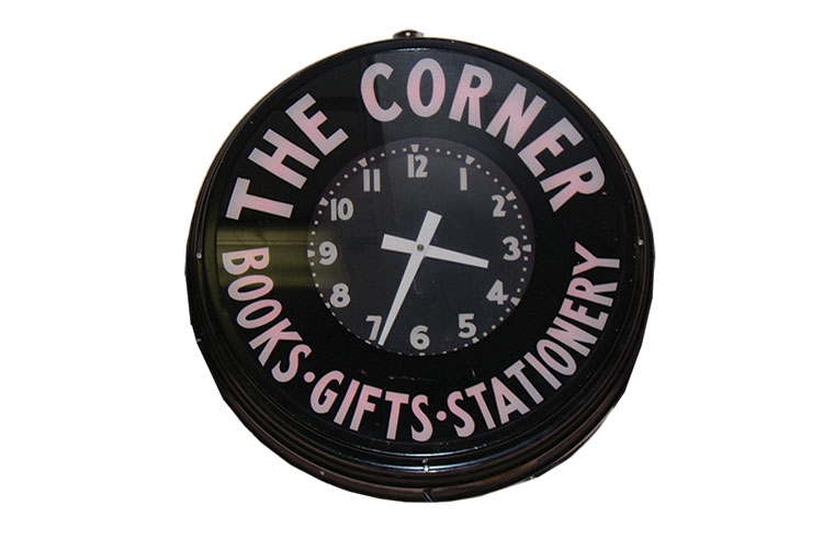 photo of the Corner Clock which was originally in the Victory Theater to promote The Corner on Tate Street