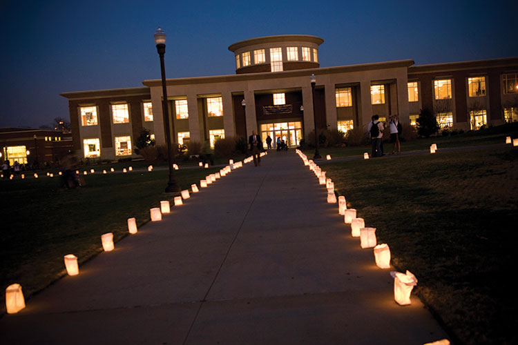 photo of the Elliot University Center with luminaires lighting the walkways