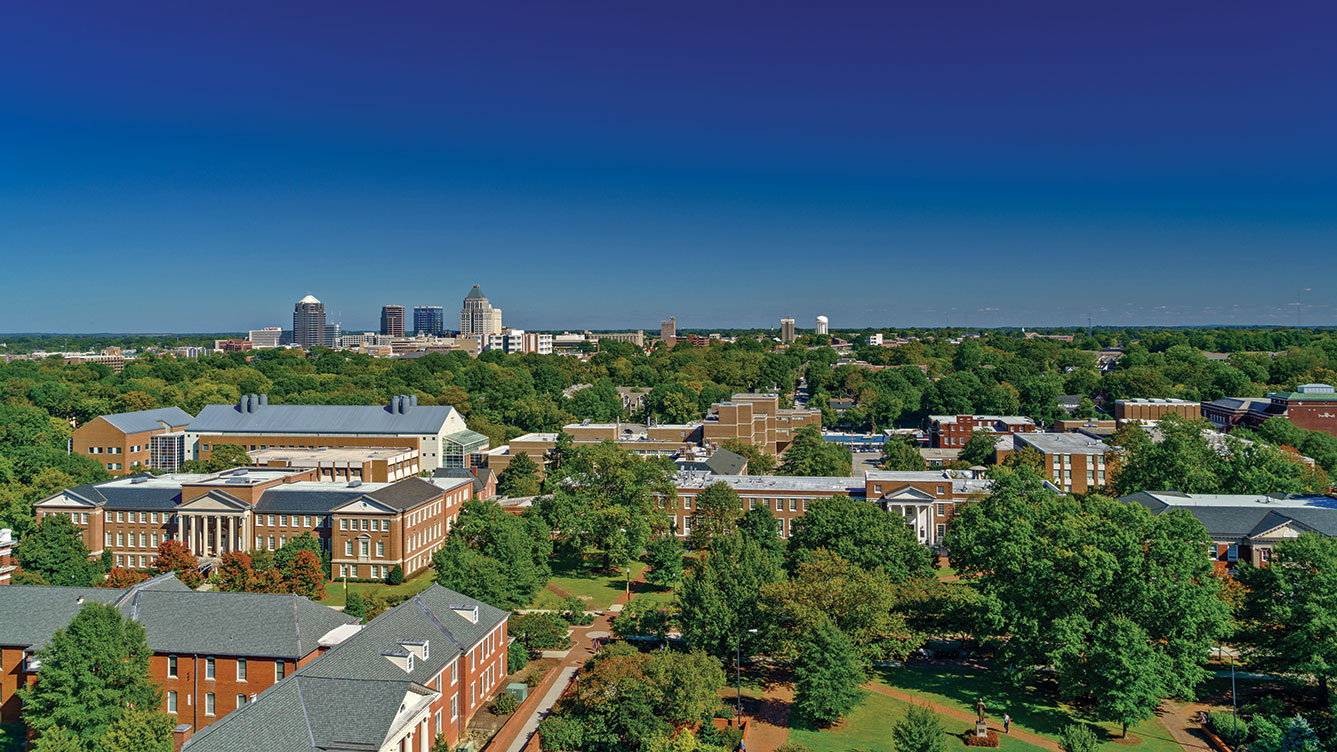 Aerial photograph of UNCG campus from Jackson Library.